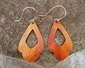Open Red Copper with Leaf Imprint Earrings - Copper and Sterling Silver
