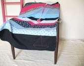 SALE! everything must go! Baby quilt, blue and pink, ship embroidery , fleece back.