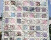 Patchwork Lap quilt  UK, comforter, throw in Moda Felicity and cream cotton sateen 47 x 53 - Mrs Tresidder's Garden