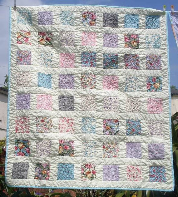 Patchwork Lap quilt  UK, comforter, throw in Moda Felicity and cream cotton sateen 47 x 53 - Mrs Tresidder's Garden