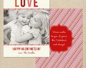 Multi Stripes Valentine's Day Card DIY Printable or Printed Card
