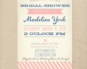 Vintage Bridal Shower Invitation Baby Shower Invite Printable OR Printed Card