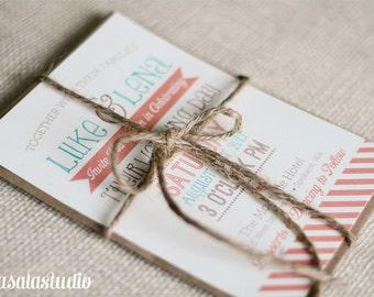 Rustic Vintage Turquoise & Coral Wedding Invite Printable Invitation OR Printed Card