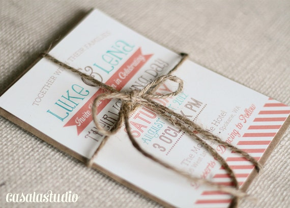 Rustic Vintage Turquoise & Coral Wedding Invite Printable Invitation OR Printed Card