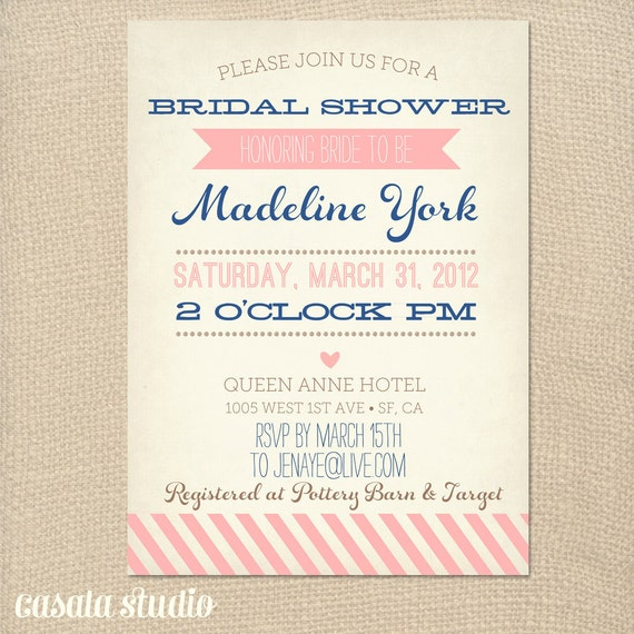 Vintage Bridal Shower Invitation Baby Shower Invite Printable OR Printed Card