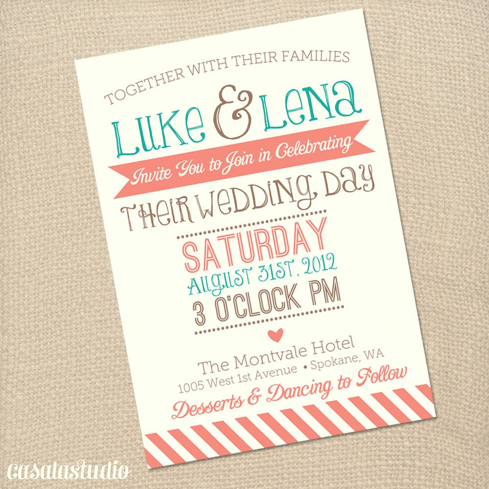 Coral Wedding Invitations: Rustic Vintage Turquoise & Coral Wedding Invite By