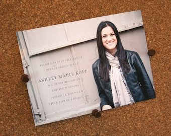 Set of 25 / Custom Graduation Announcements: Printed on thick matte cardstock with envelopes