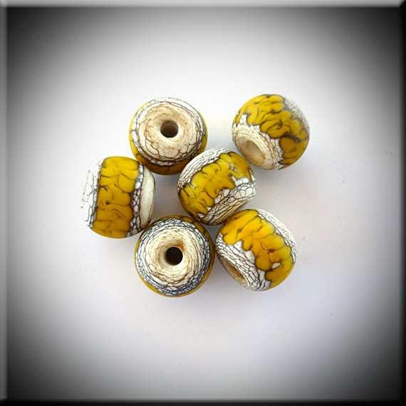 "Lampwork handmade glass beads set of 6 ""Blazing Sun"" By Bernadette Fuentes"