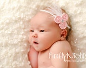 Light Pink Rolled Fabric Rosette w/ feathers And Bling Accent Headband Newborn Baby Infant Toddler
