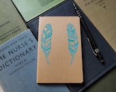 Hand Drawn Moleskine, turquoise feather