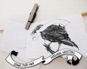 Raven Greeting Card, Blank Greeting Banner, Scrawl your own Greeting