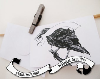 Raven Greeting Card, Blank Greeting Banner, Scrawl your own Greeting