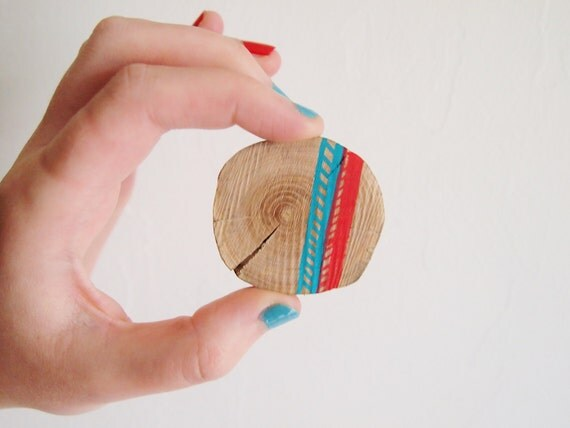 SALE! Natural Wood Brooch, Red and Turquoise Chevron