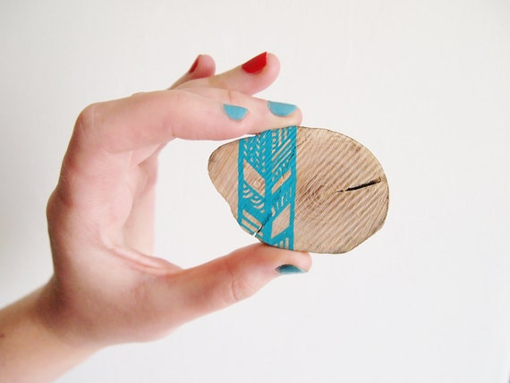 Chevron Wooden Brooch, Turquoise Patterns