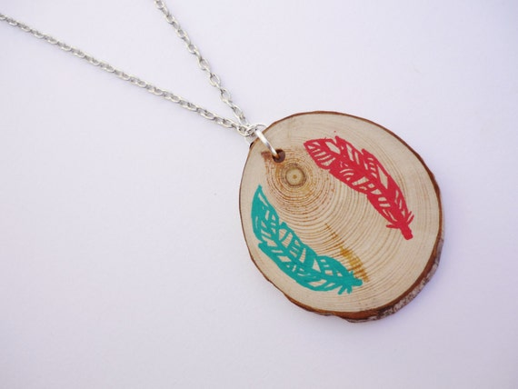 Wooden Feather Necklace - Teal and Red