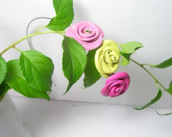 Flower Headband Leather Roses