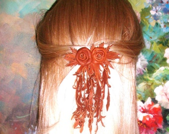 Flower  hairpiece Barrette  Brown  Leather Rose