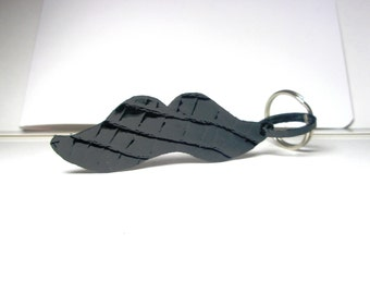 Black Leather Mustache Key chain or  Moustache Phone Charm free shipping