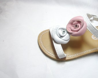 Pink and White  Flower baby shoe clips, leather rose girl shoe clips ,flip flop   shoes accessories