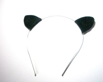 Sale Black  Cat Ear Headband Leather Ears bobby pins