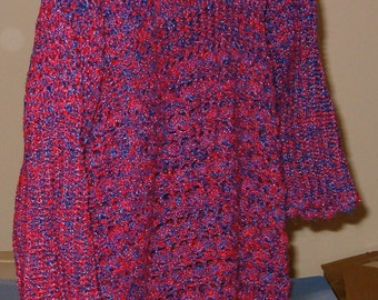 Crocheted Red/Blue/Purple Tweed Tunic Sweater