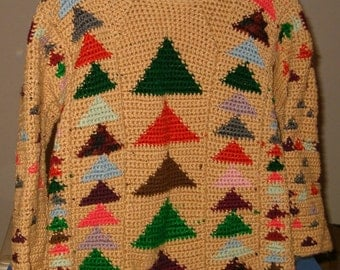 Crocheted Flying Geese Sweater