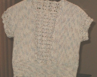 Crocheted White Tweed Cotton Top