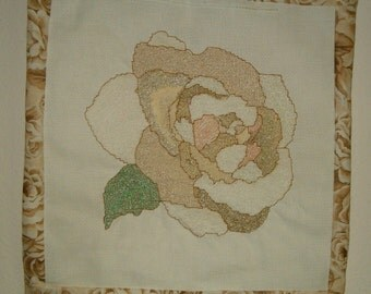 Needlepoint picture or pillow/ Pastel Petals Rose