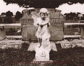 25% OFF SALE: Spooky Black & White Photo, Statue of Angel in Cemetery, 11x14 and More Sizes Available
