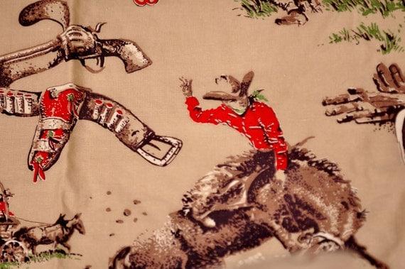 Vintage Cowboy Barkcloth Cowboy Fabric Cowboy Curtains