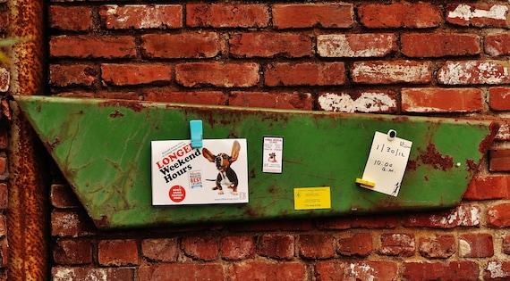 Vintage Industrial Chippy Green Metal Magnetic Memo Clip Board - Industrial Wall Art