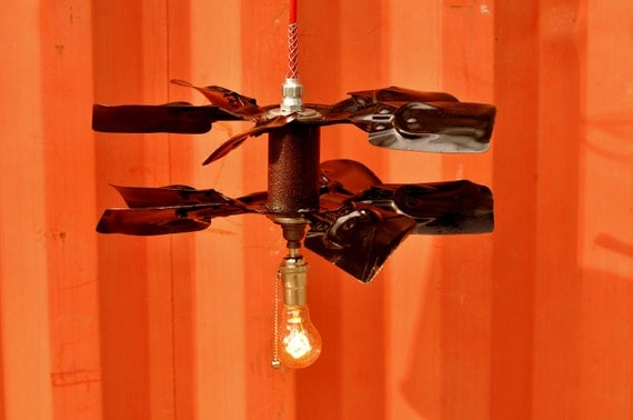 Industrial Pendant Light Steampunk - Vintage Double Fan Blades Hanging Industrial Lamp Hot Red Cord