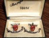 Vintage SWANK Viking Ship Cufflinks