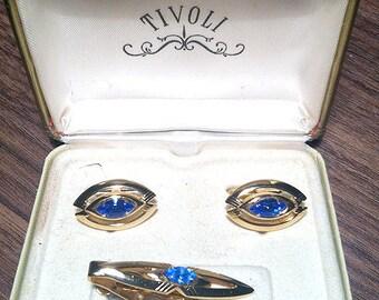 Original Vintage SWANK Birthstones Blue Stone Cufflink Set