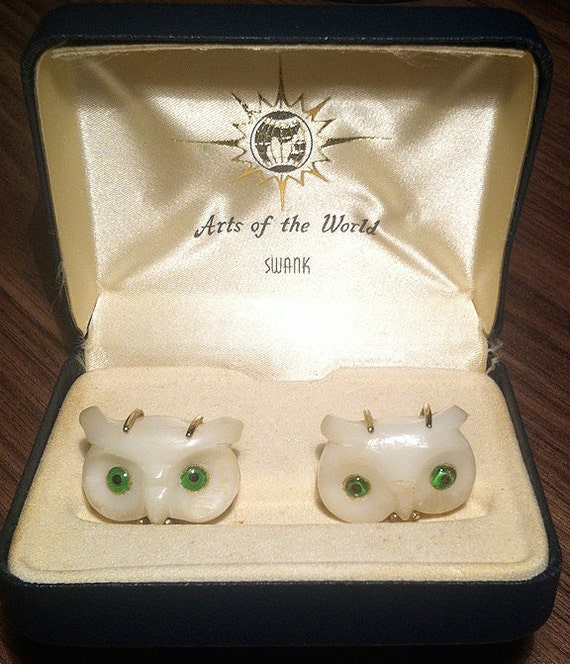 RARE Original Vintage SWANK Arts of the World Italian Alabaster Owl Cufflinks