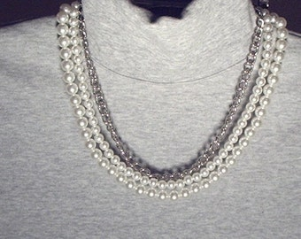 3 Strand Necklace, 2 faux pearls and one silver colored chain