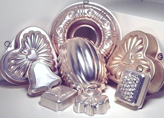 Jello Molds, total of 8 ready to hang in your kitchen or dining room