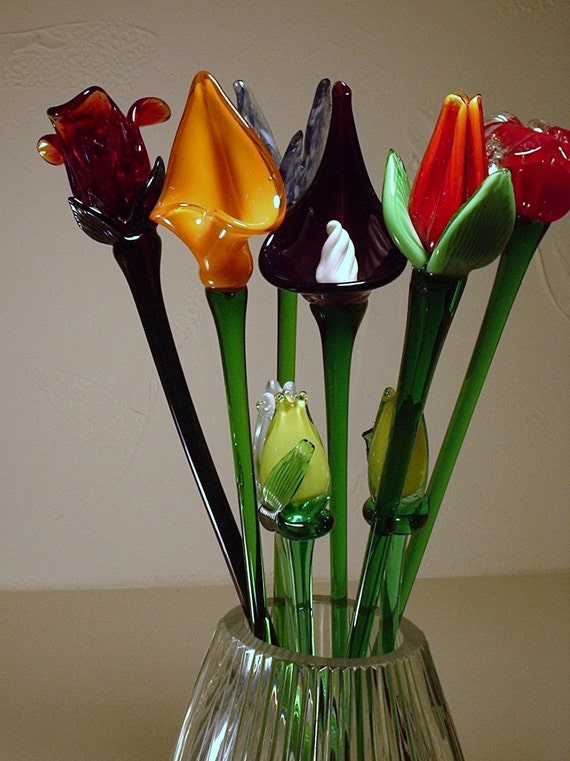 Blown Glass Flowers On Long Stems