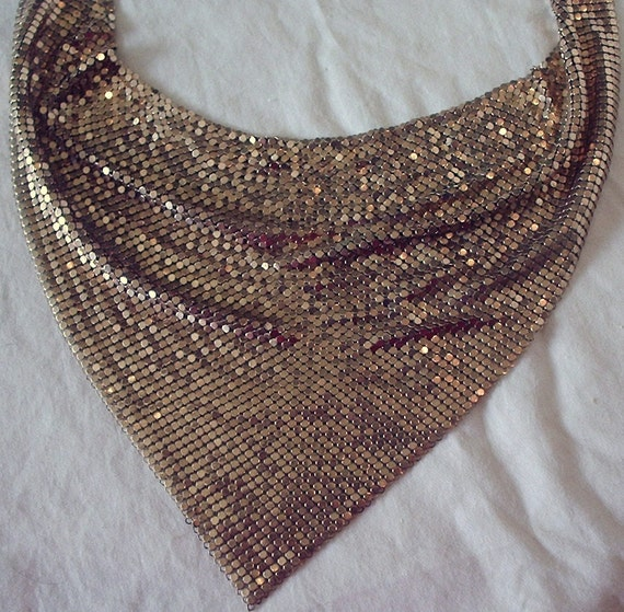 Necklace, scarf, choker style gold tone mesh, 1950's