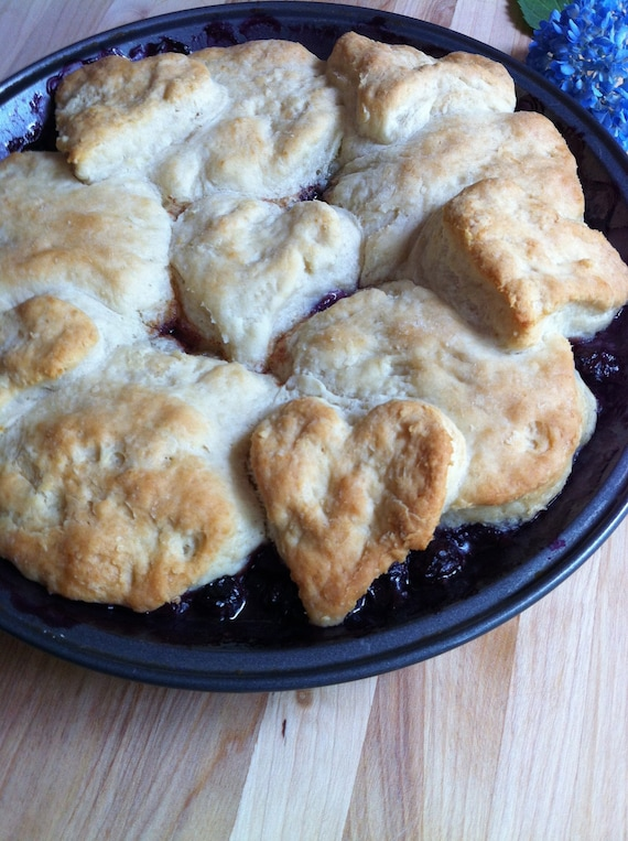 Items similar to Blueberry Peach Sour Cream Biscuit ...