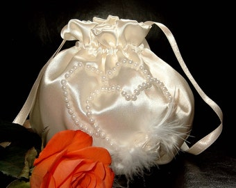 elegant bag purse for your wedding,party,night out,special occasion made iof satin and decorated with pearls