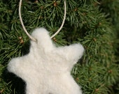 White Star Shaped Needle Felted Christmas Ornament