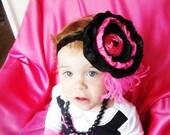 Baby Girl Headband...Boutique Hairbow...Boutique Bow....Couture Headband...Baby Hairbow...Black and Hot Pink OTT Flower