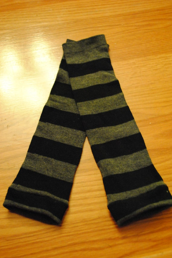 Gray and Black Striped Baby or Toddler Leg Warmers
