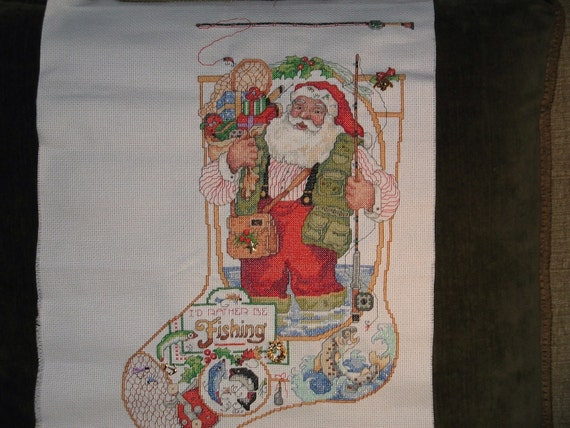 Fishing santa christmas stocking handmade cross stitch can for Fish christmas stocking