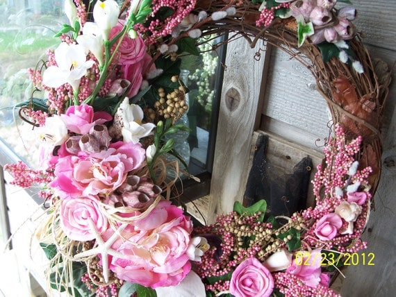 Pink Peony Grapevine Wreath with Freesia Pink Barnacles and Pussy Willow