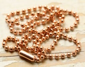 """30"""" 32"""" 34"""" or 36"""" Solid Copper Necklace Ball Chain or Ball-Bar Chain 2.4mm with End Connector, Custom length, Genuine Copper Chain"""