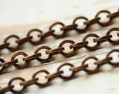 6ft Chunky Antiqued Brass Cable Chain 6mm x 7mm, Square Wire, Large Round Solid Brass Chain, Belcher Rolo