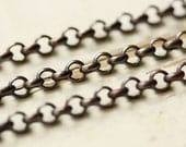 6ft Antiqued Brass Rolo SOLDERED Chain 4.5mm, Solid Brass Rolo Chain, Strong Links Round Cable