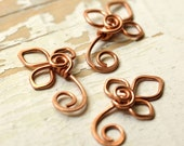 3 Flower Charms, Buds, Trefoil, Handmade Wire Flower Solid Copper - Wirework Connector, Charm, Pendant, Recycled Copper Flowers